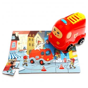 造型木製隨身拼圖-消防車